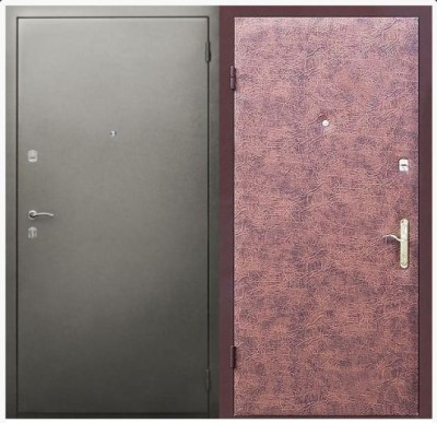 Дверь с отделкой из винилискожи и порошкового напыления