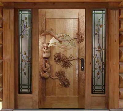 Входная дверь для дачи из древесного массива