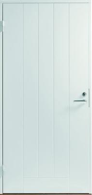 Покрашенная в белый цвет, входная металлическая дверь