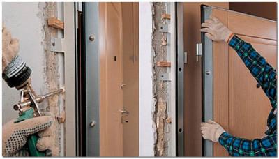 Установка стальных дверных конструкций
